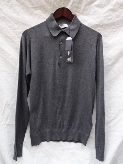 John Smedley Sea Island Cotton L/Sleeve Polo MADE IN ENGLAND Charcoal