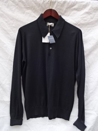 John Smedley Sea Island Cotton L/Sleeve Polo MADE IN ENGLAND Black