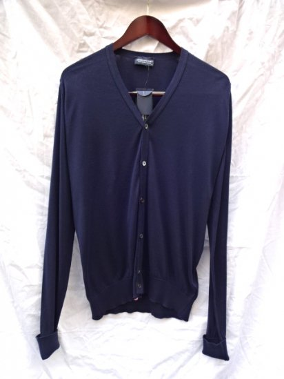 John Smedley Sea Island Cotton Cardigan MADE IN ENGLAND Navy