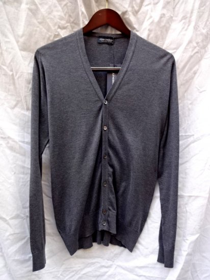 John Smedley Sea Island Cotton Cardigan MADE IN ENGLAND Charcoal