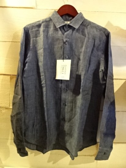 Stefano Conti Linen Shirts Made in Italy Navy<BR>SALE! 16,800 + Tax → 10,080 + Tax