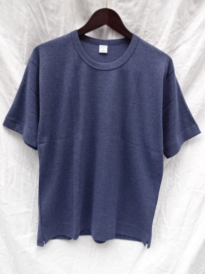 Gicipi Cotton Waffle Crew Neck Big Tee Made in Italy / Navy