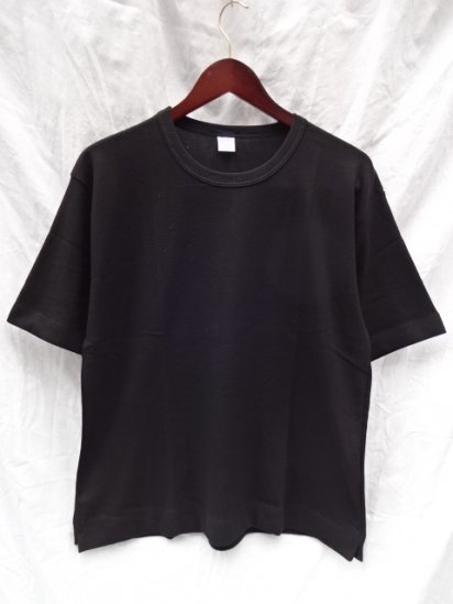 Gicipi Cotton Waffle Crew Neck Big Tee Made in Italy / Black