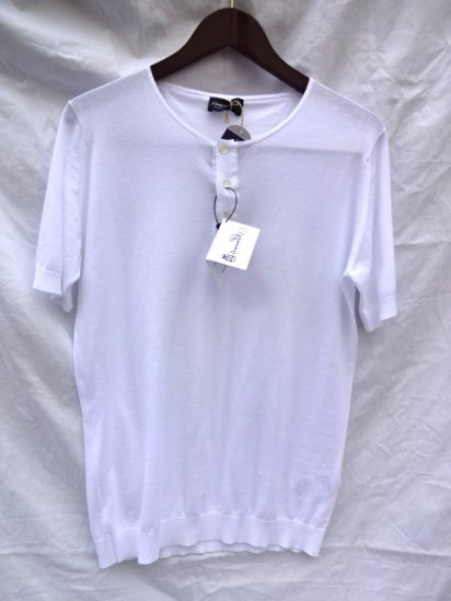 John Smedley Sea Island Cotton Henley Made in England White