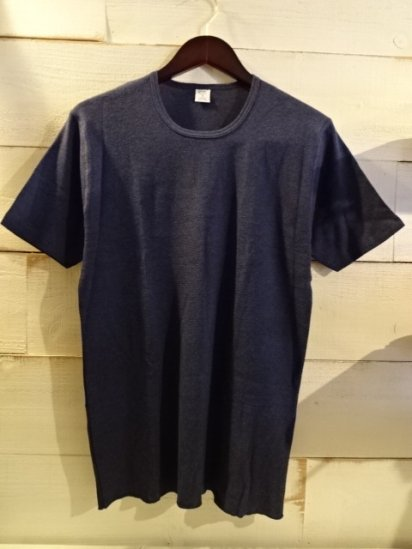Gicipi Cotton Waffle Crew Neck Tee Made in Italy Navy<BR>SALE! 3,800 + Tax → 2,280 + Tax