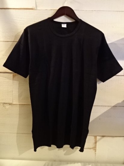 Gicipi Cotton Waffle Crew Neck Tee Made in Italy Black<BR>SALE! 3,800 + Tax → 2,280 + Tax