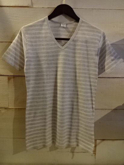 Gicipi Cotton Waffle V-Neck Tee Made in Italy White x Gray<BR>SALE! 3,800 + Tax → 2,280 + Tax