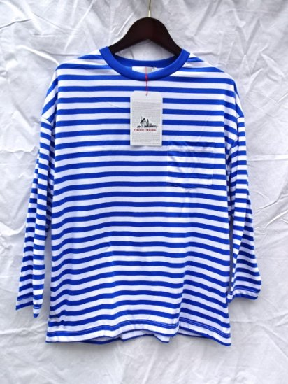 Vincent et Mireille  3/4 Sleeve Big Tee Made in France Blue / White