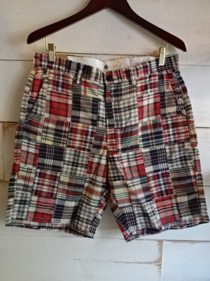 J.Crew Madras Check Patch Work Shorts Made in India<BR>SALE!! 6,800 + Tax → 3,800+Tax