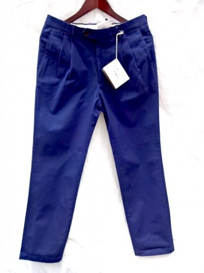 RICCARDO METHA 2 Tuck Tapered Trousers Made in Italy Navy