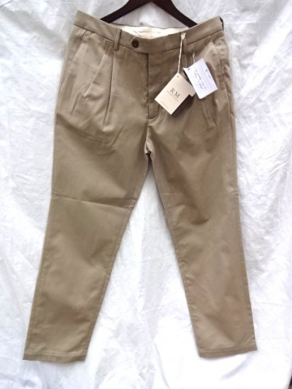 RICCARDO METHA 2 Tuck Tapered Trousers Made in Italy Beige