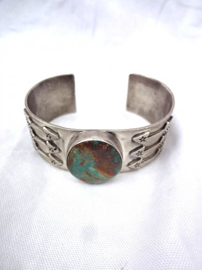 Navajo Tribe Turquoise Sterling Silver Bangle <BR> MADE IN U.S.A