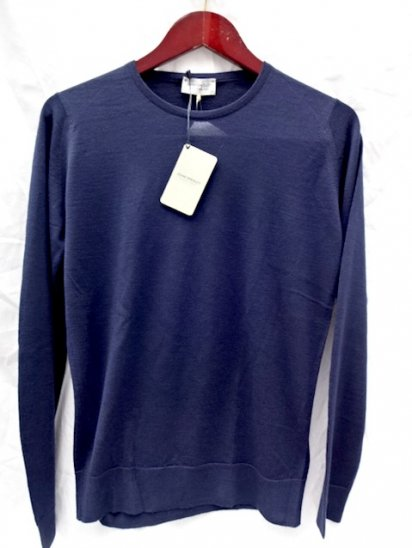 John Smedley Extra Fine Merino Wool Knit CLEVES PULLOVER Made in England<BR>Navy