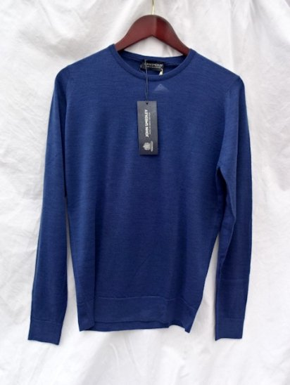 John Smedley Extra Fine Merino Wool Knit CLEVES PULLOVER Made in England<BR>Indigo