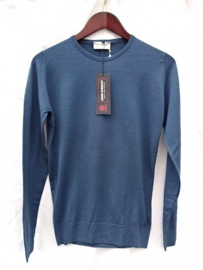 John Smedley Extra Fine Merino Wool Knit CLEVES PULLOVER Made in England<BR>B.Blue