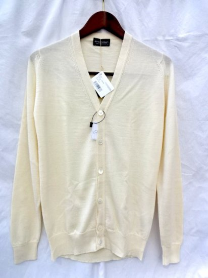 John Smedley Cavendish 24G Extra Fine Merino Wool Cardigan Made in England <br>Natural