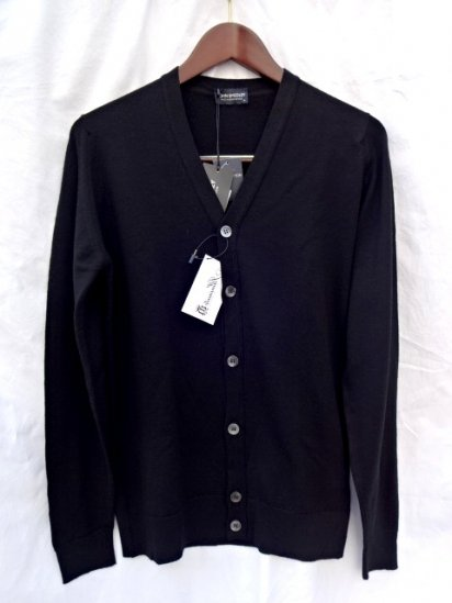 John Smedley Cavendish 24G Extra Fine Merino Wool Cardigan Made in England <br>Black