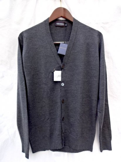 John Smedley Cavendish 24G Extra Fine Merino Wool Cardigan Made in England <br>Charcoal