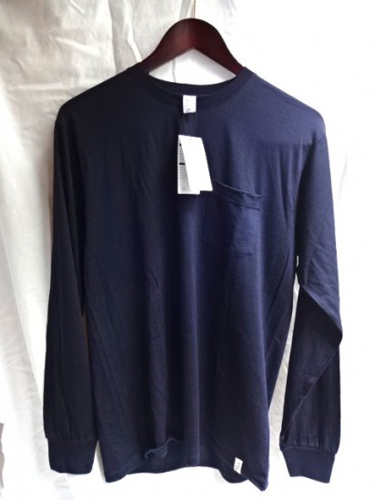 good & woolen 17.5μ Superfine New Zealand Merino Wool L/S Pocket Tee Made in Japan Navy
