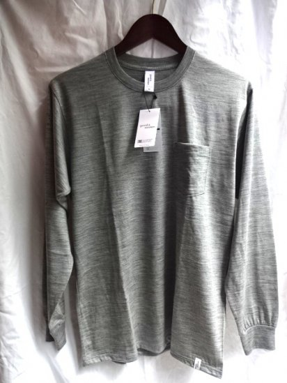 good & woolen 17.5μ Superfine New Zealand Merino Wool L/S Pocket Tee Made in Japan Light Gray