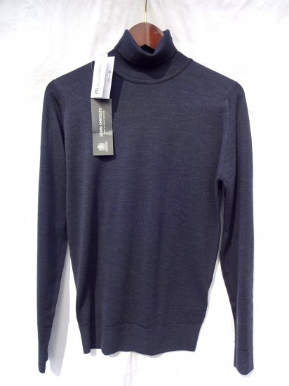 John Smedley Extra Fine Merino Wool Knit CHERWELL PULLOVER Made in England Charcoal