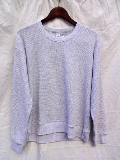 Gicipi Cotton Heavy Waffle Crew Neck Sweat Made in ITALY L.gray