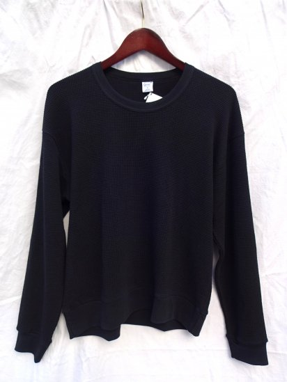 Gicipi Cotton Heavy Waffle Crew Neck Sweat Made in ITALY Black