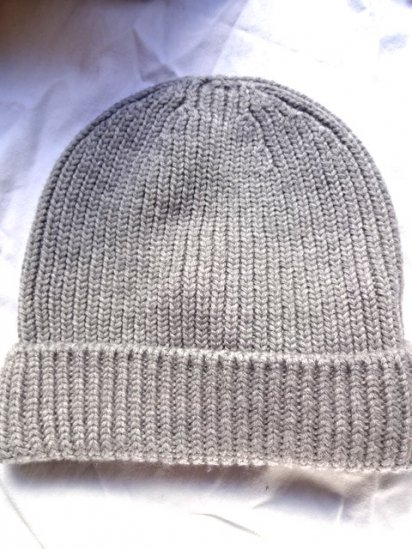 Made in France 100% Wool Knit Cap Gray