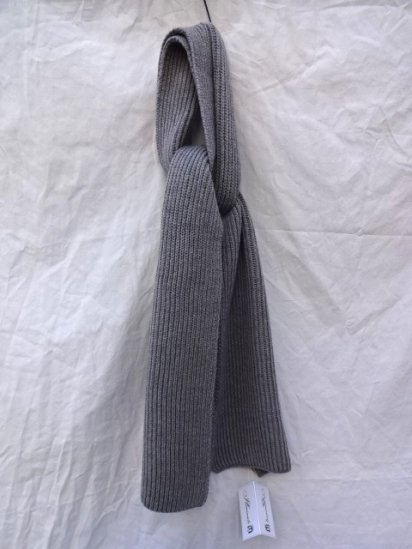 Made in France 100% Wool Knit Muffler Gray