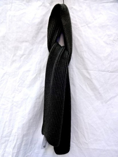 Made in France 100% Wool Knit Muffler Olive