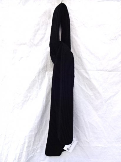 Made in France 100% Wool Knit Muffler Black