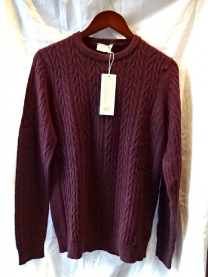 John Smedley MAERINO/CASHMERE Cable KNIT Made in England Wine