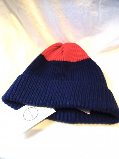 Country of Origin Rib Quarter Hat Made in ENGLAND Navy x Red
