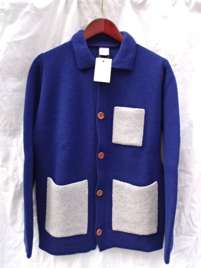 Country of Origin Knit Jacket Made in ENGLAND  Navy x Gray
