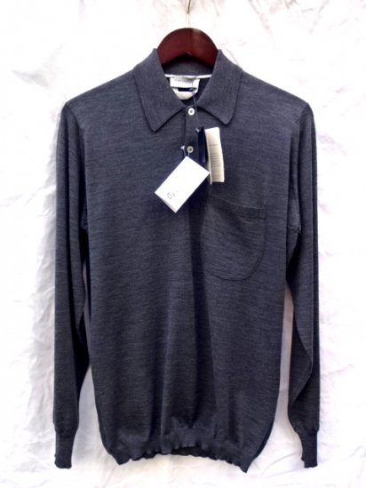 John Smedley Extra Fine Merino Wool Knit A3827 RIBBED DETAIL SHIRTS Made in England/Charcoal
