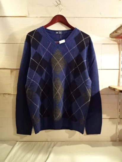 J.Crew Lambs Wool Argyle Knit V-Neck Sweater<BR>SPECIAL PRICE 3,900+Tax