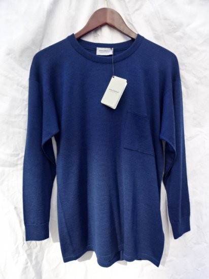 John Smedley Extra Fine Merino Wool DROP SHOULDER Pocket KNIT MADE IN ENGLAND Indigo