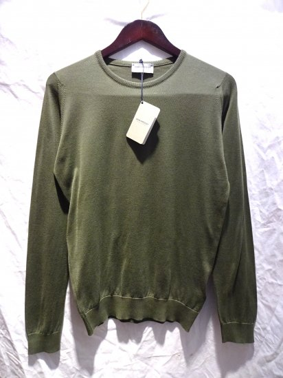 John Smedley Sea Island Cotton Knit LUKE PULLOVER Made in England Olive
