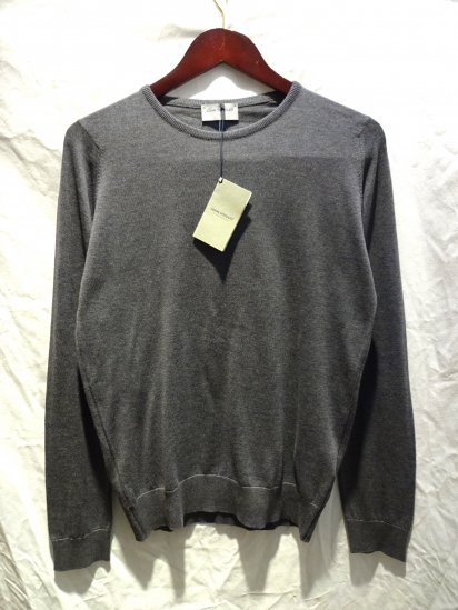 John Smedley Sea Island Cotton Knit LUKE PULLOVER Made in England Charcoal