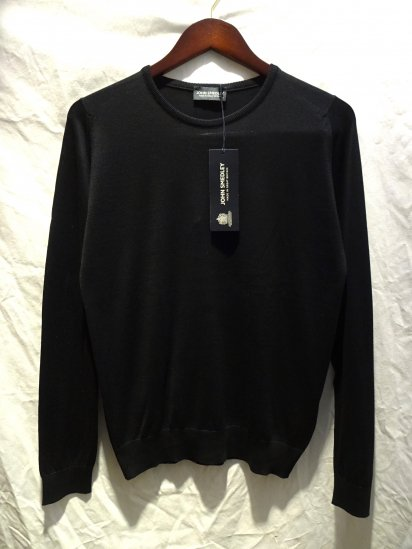 John Smedley Sea Island Cotton Knit LUKE PULLOVER Made in England Black