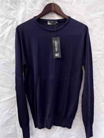 John Smedley Sea Island Cotton Knit PULLOVER Made in England Navy