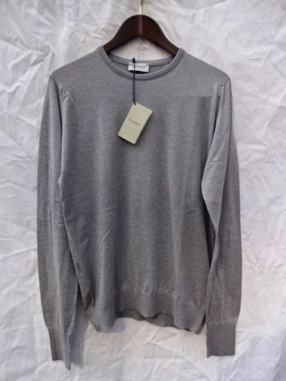 John Smedley Sea Island Cotton Knit PULLOVER Made in England Gray