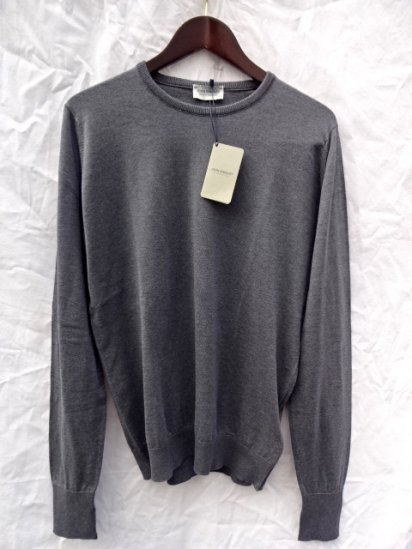 John Smedley Sea Island Cotton Knit PULLOVER Made in England Charcoal