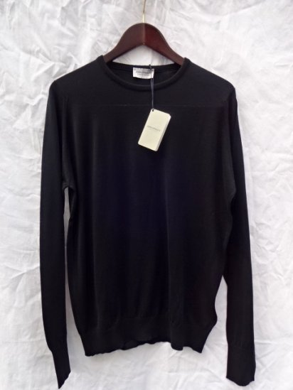 John Smedley Sea Island Cotton Knit PULLOVER Made in England Black