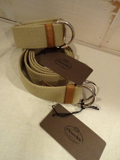Church's Canvas Ring Belt Beige<BR>SALE! 7,800 + Tax → 6,240 + Tax