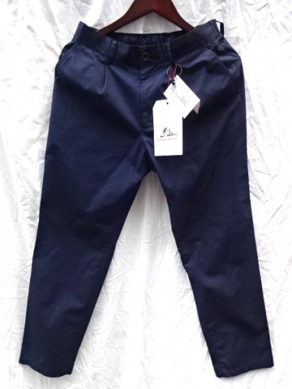 Vincent et Mireille Cotton Poplin 1 Tuck Pants /Navy<BR>SALE!! 12,000→ 8,400 + Tax