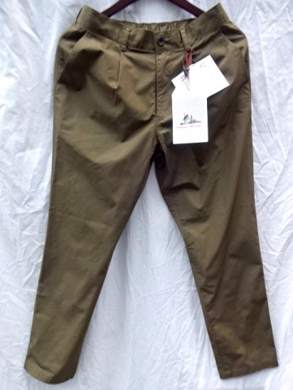 Vincent et Mireille Cotton Poplin 1 Tuck Pants /Olive