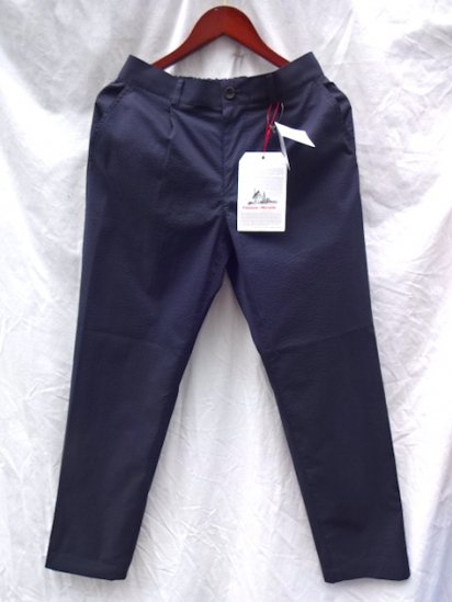 Vincent et Mireille Seersucker 1 Tuck Pants Navy