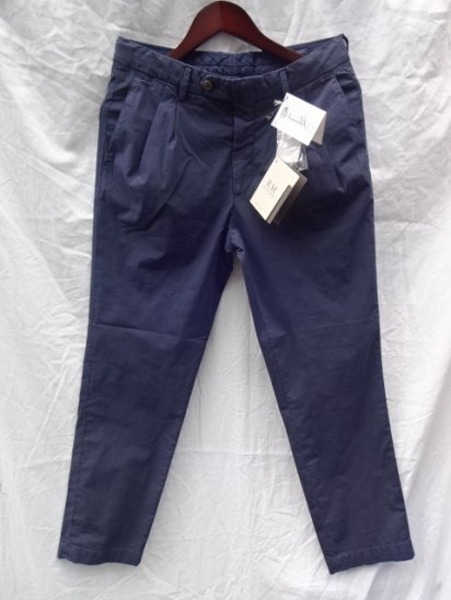 RICCARDO METHA Garment Wash Poplin 2 Tuck Tapered Trousers<br>Made in Italy Navy