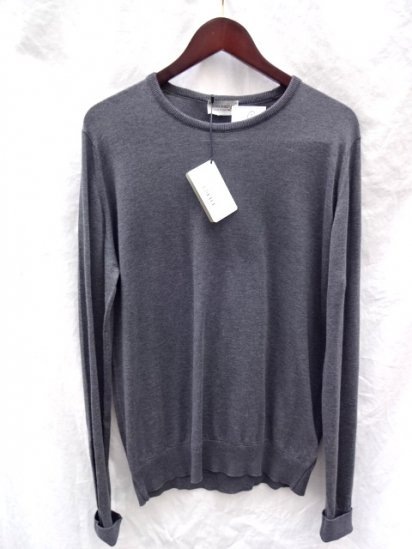 John Smedley Sea Island Cotton Knit LYNDHURST PULLOVER Made in England Charcoal